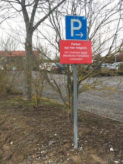 Parkhinweis Parkplatz